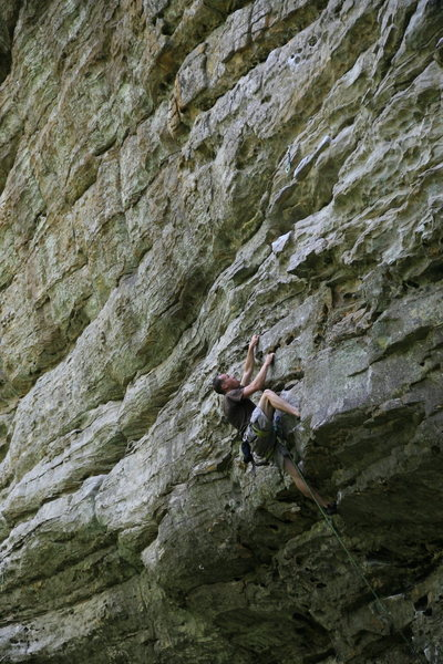 Just after the roof crux