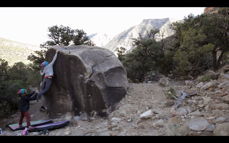 Rock Climbing Photo: Sticking the dynamic move to the lip on 'Core Shot...