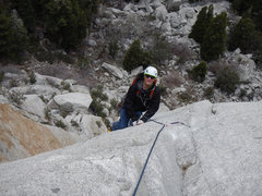 Rock Climbing Photo: Les, at 64 on his route following on the crux of p...