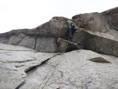 Rock Climbing Photo: On the first roof of pitch 3. Eight feet to the le...