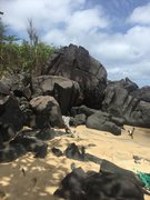 Rock Climbing Photo: The start of the boulders along the beach at Rober...