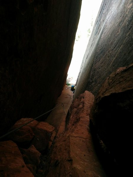 Rock Climbing Photo: Looking down from the anchor at the top of the pit...