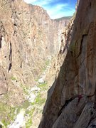 Rock Climbing Photo: Looking back at the top of pitch five from the bel...