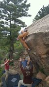 Rock Climbing Photo: Sticking the mantel on Pinch Overhang, 5/15/16.