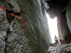 Rock Climbing Photo: The chimney on the 4th class descent option off Sl...