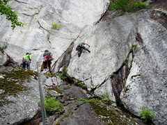 Rock Climbing Photo: Climber starting up the short 10c pitch leading in...