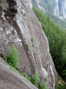 Rock Climbing Photo: Pitch 1 of The Great Game as seen from Birds of Pr...