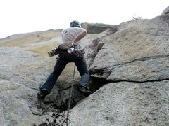 Rock Climbing Photo: Jon launching into the steep juggy moves of Pitch ...