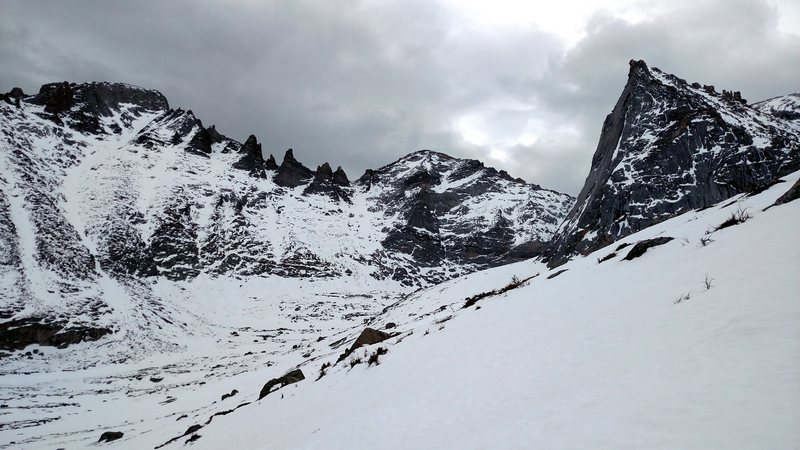 The Trough is on the left. Pagoda Couloir is in the center. There are a few mixed lines in between.