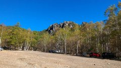 Rock Climbing Photo: Other side of parking lot with The Roof Rocks in t...
