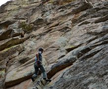 Rock Climbing Photo: A sea of smears.  The route is near vertical, stee...