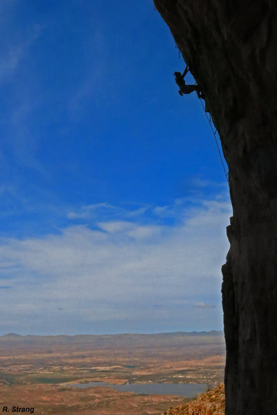 Natalie moves past the crux <br> and into the finish of<br> Old Man Direct (5.12)