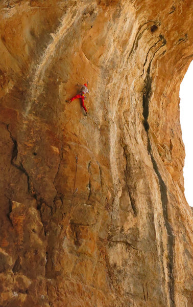 Natalie gets ready for the crux crimps <br> The Technician (5.13)