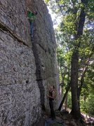 Rock Climbing Photo: Kevin gets ready to make the transition from the c...