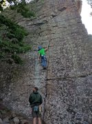 Rock Climbing Photo: Kevin is scoping out his next piece of pro on Bost...