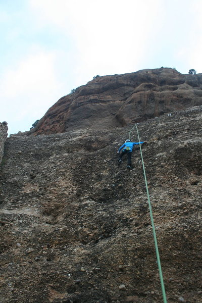 Rock Climbing Photo: Fun 5.8!  Very enjoyable!  I love the cobble stone...