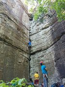 Rock Climbing Photo: Michael attempts to stem his way through a tough s...