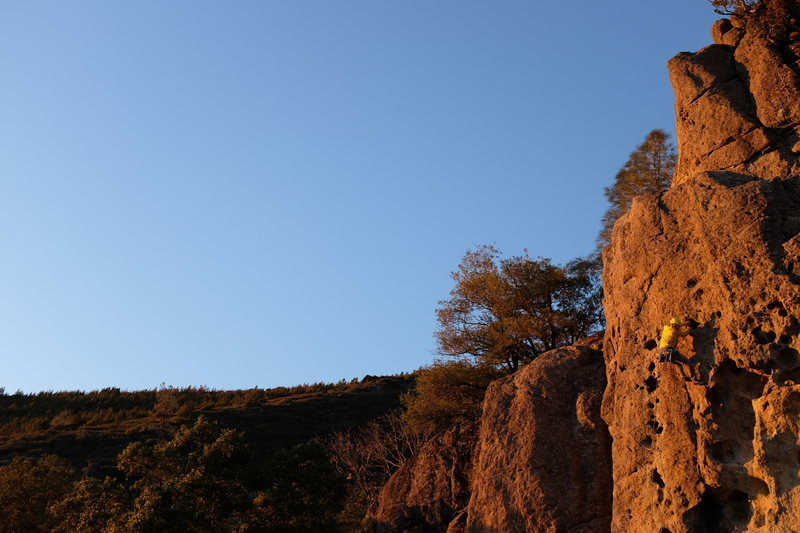 Rock Climbing Photo: Right before the crux. This is where the business ...