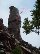 Rock Climbing Photo: Hacker's Tower as seen from the west and up stream...