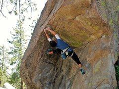 Rock Climbing Photo: julie arching and reaching