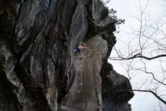 Rock Climbing Photo: Reaching for the rail after some beautiful stemmin...