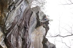 Rock Climbing Photo: About to swing the final mantle out right. I've fa...