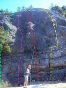 Rock Climbing Photo: Friction Slab routes: Touch and Go (green, approx)...