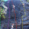 Friction Slab routes: Touch and Go (green, approx), Wake Up Call (purple), Prime Time (red), Wacko (yellow)
