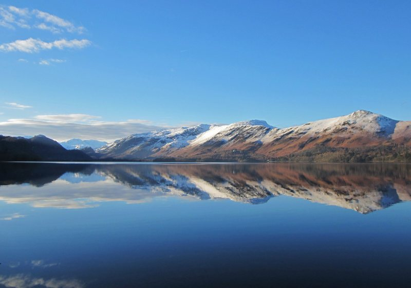 Catbells on the right ... Looking down Derwentwater to the jaws of Borrowdale