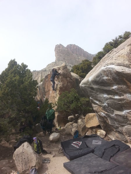 Tanya near the top of this fun line! Pimpin Jeans boulder is on the right.