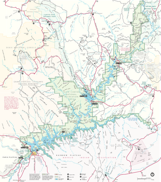 Rock Climbing Photo: Map of Glen Canyon National Recreation Area. View ...
