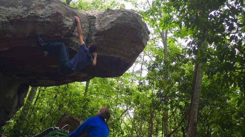Rock Climbing Photo: i recommend the heel hook to stop the swing ;)