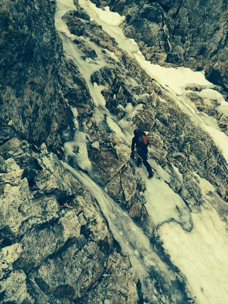1st ice pitch on NW Couloir, Middle Teton