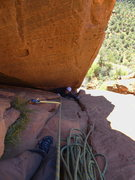 Rock Climbing Photo: Chris nearing the P4 (per MP) belay
