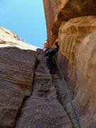 Rock Climbing Photo: Chris starting P5 (per MP)