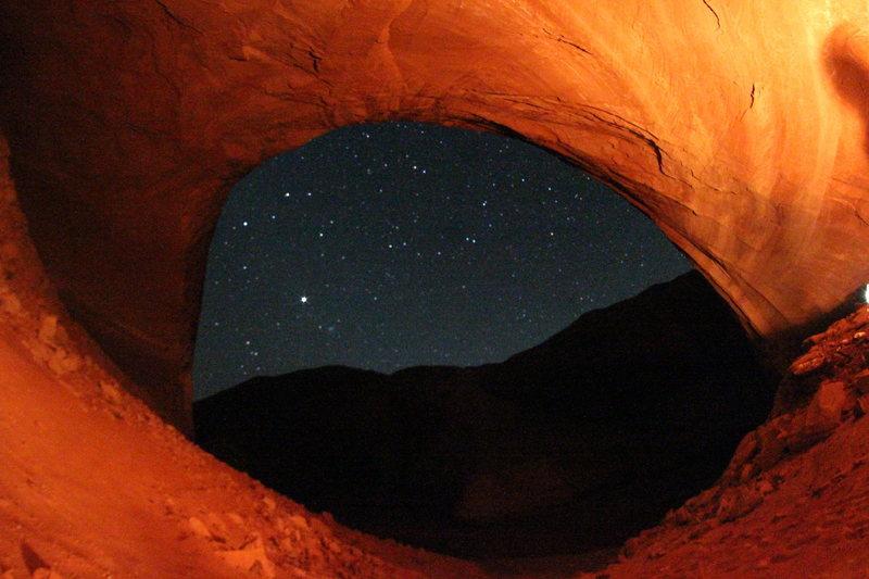 Davis Gultch, little cave above rock fieild