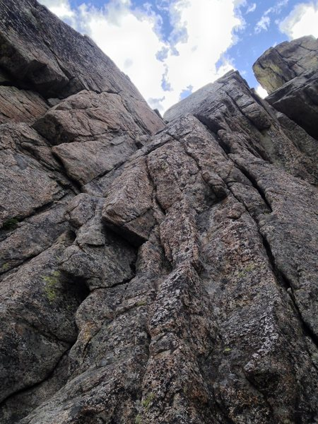 Exciting, fun 5.6!  First trad lead