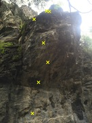 Rock Climbing Photo: The bolts on Dad Dick
