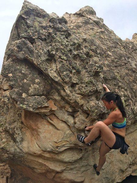 Rock Climbing Photo: Jenn on the problem