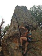 Rock Climbing Photo: Jenn taking down the problem