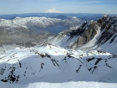 Rock Climbing Photo: St. Helens crater and Mt. Rainier.