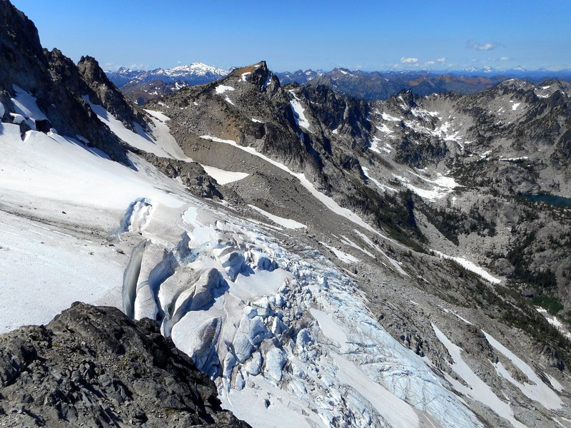 Looking over the Stuart glacier, from North Ridge of Mt. Stuart.