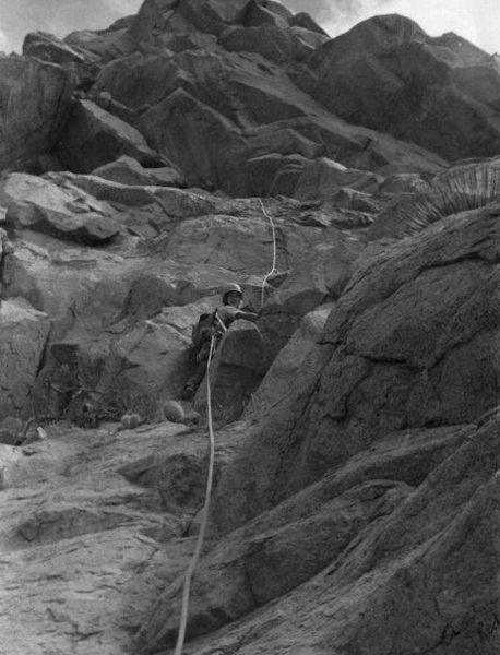Lambda Wall<br> on the West Face? Roger Guinn on top belay (early 1970s)