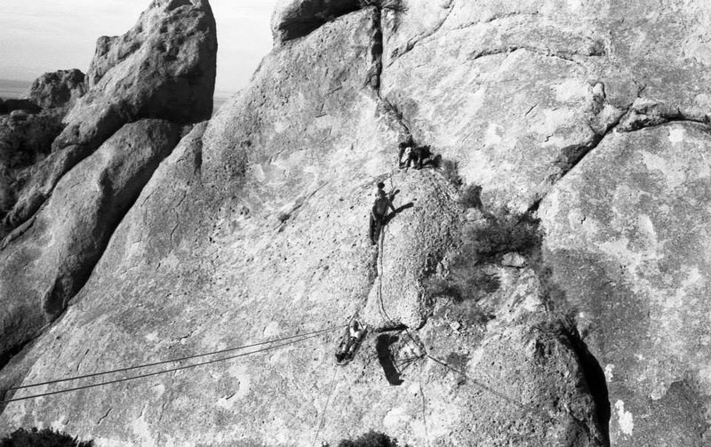 Southwestern Mountaineers Rescue Practice--Cuevas<br> <br> early 1970s, photo by Roger Guinn