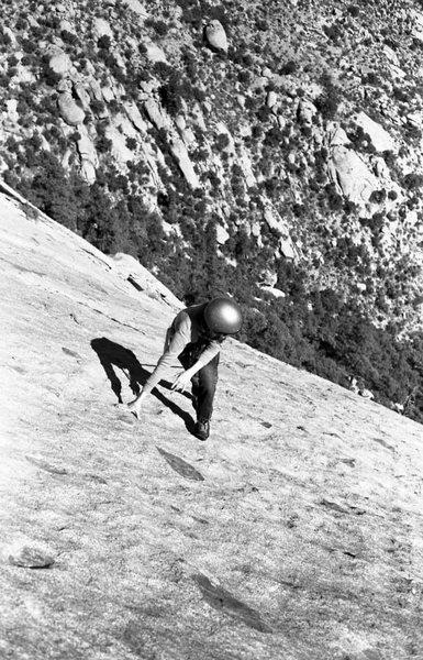 Linda Seibert on the East Slabs ca. 1974<br> <br> photo by Roger Guinn