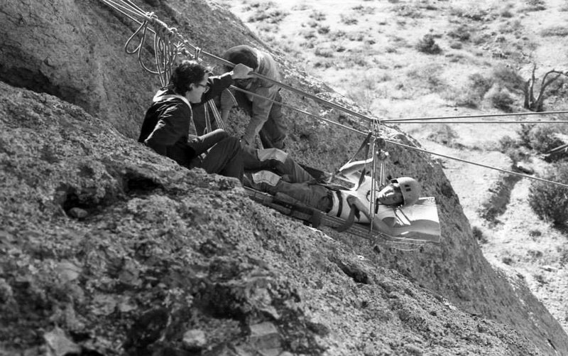 Southwestern Mountaineers Rescue Practice--Cuevas<br> <br> early 1970s, photo by Roger Guinn<br> <br> Edmund Ward in litter