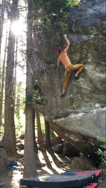 Rock Climbing Photo: Working the move into the corner. The high committ...