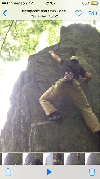 Rock Climbing Photo: High left hand reach.