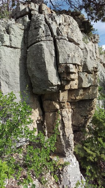 This was my favorite boulder problem.  If you kick the bottom too hard it might fall down, but the cracks are solid.