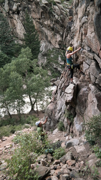Rock Climbing Photo: Lora E. on Warner Brothers Pinnacle.